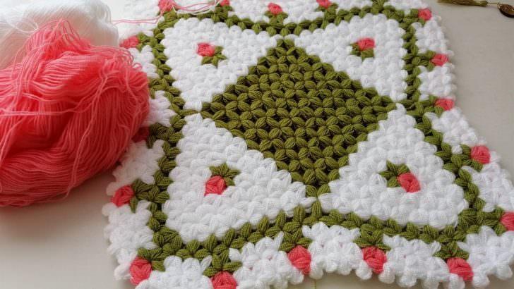 Çiçekli kolay kare lif yapımı