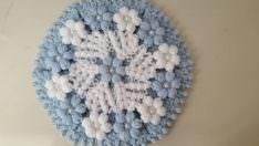 Papatya çiçekli yuvarlak lif yapımı