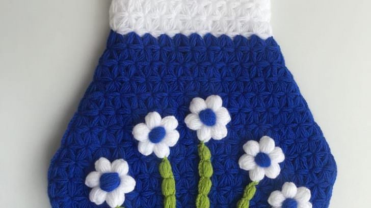 Kolay poşetlik yapımı puf çiçekli poşetlik yapılışı