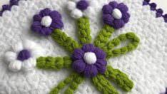 Puf çiçekli kare lif yapılışı