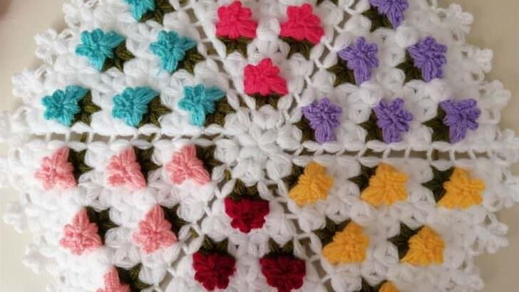 Farklı çiçekli yuvarlak lif yapımı
