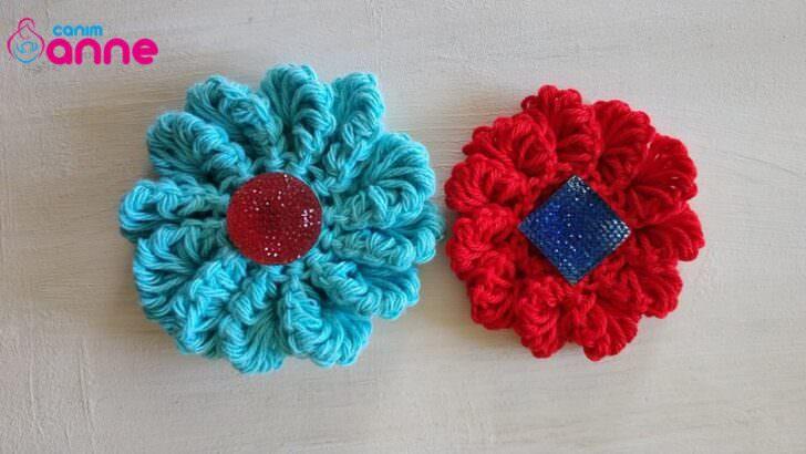 Tığ işi yeni tasarım çiçek motifi yapılışı