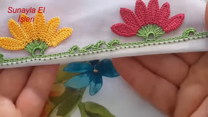 Tığ işi yaprak modeli yazma yapılışı