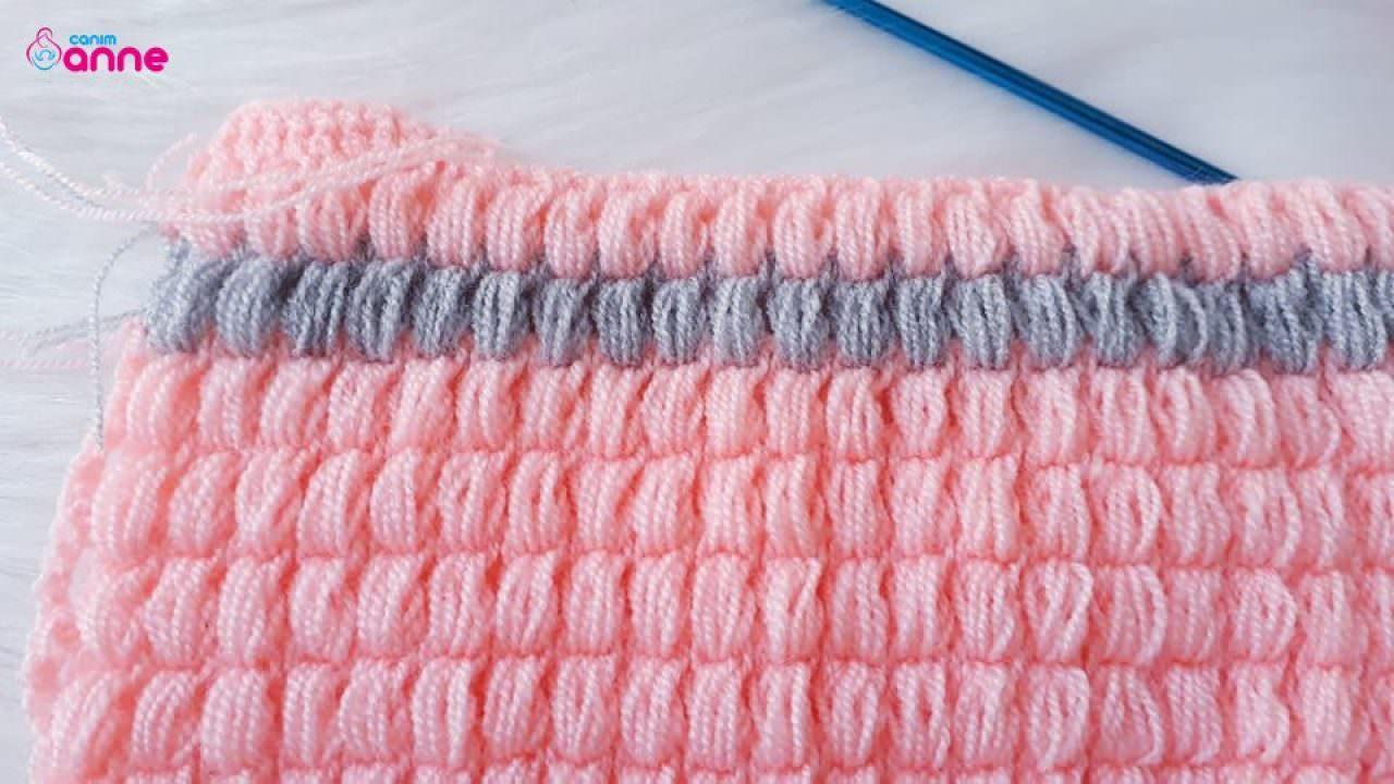 Tunus işi fıstıklı battaniye modeli yapımı