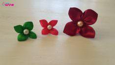 Kurdeleden boncuklu çiçek yapımı