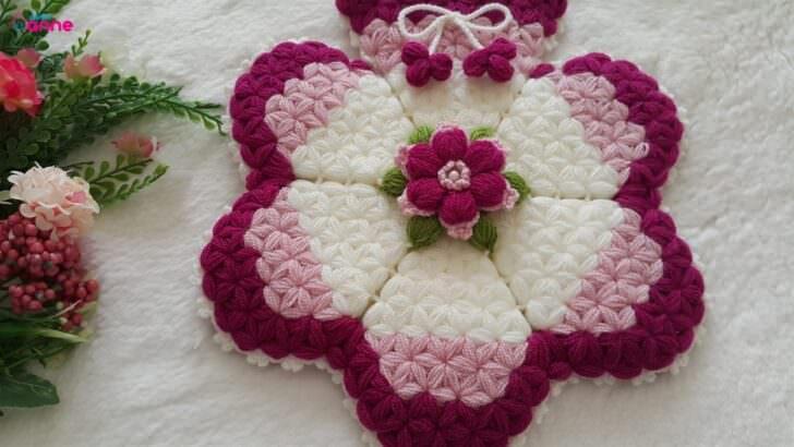 Çiçek çemberi kese lif modeli yapılışı