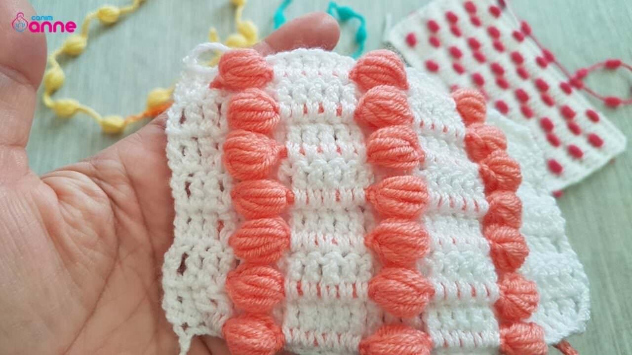 Tığ işi ponponlu bebek battaniyesi yapımı