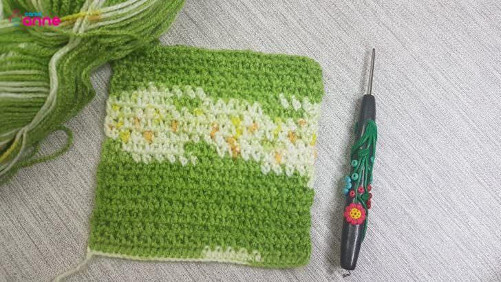 Batik iple tığ işi battaniye modeli yapımı