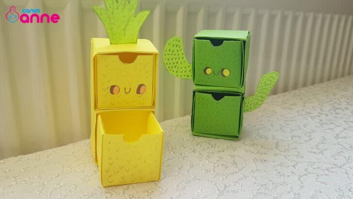 Kağıttan kaktüs ve ananas şeklinde mini çekmece yapılışı
