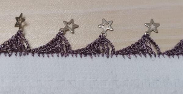 Tığ oyası yıldız pul yazma kenarı yapımı