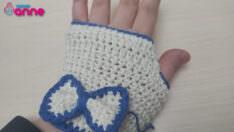Koton ip ile tığ işi parmaksız eldiven yapılışı