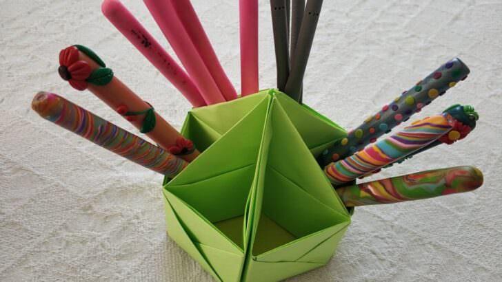 Origami kalemlik nasıl yapılır